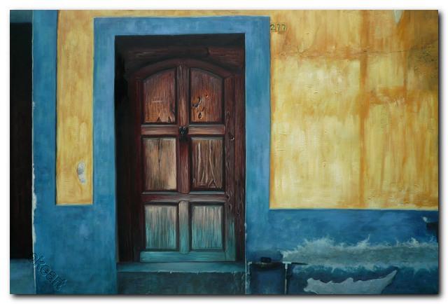 Tangan-dicat-lukisan-minyak-pemandangan-impresionis-Pintu-biru-gambar-seni-dinding-dekorasi-rumah-seni-grosir-Dinding